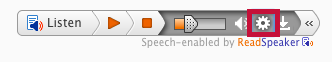 Identifies ReadSpeaker settings icon.