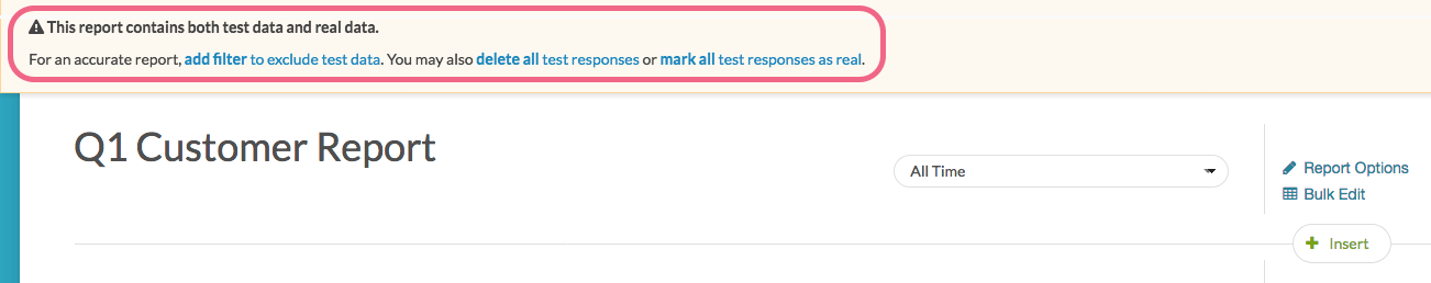 Standard Report Test Responses Notification
