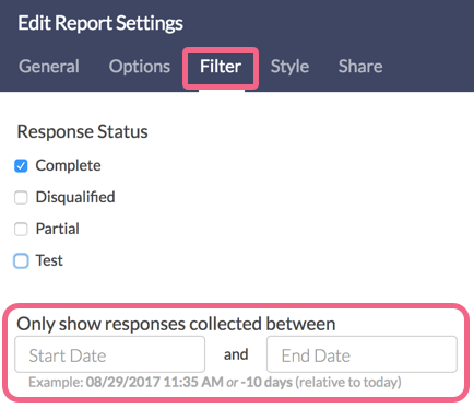 Date Filtering: Other Report Types