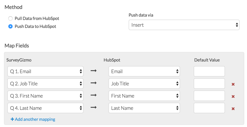 HubSpot Push: Map Fields