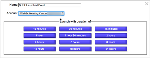 Shows Quick launch event setup and duration options