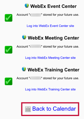 Shows Webex account setup and identifies Back to Calendar link