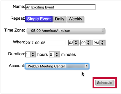 Shows event setup form and identifies the Schedule button