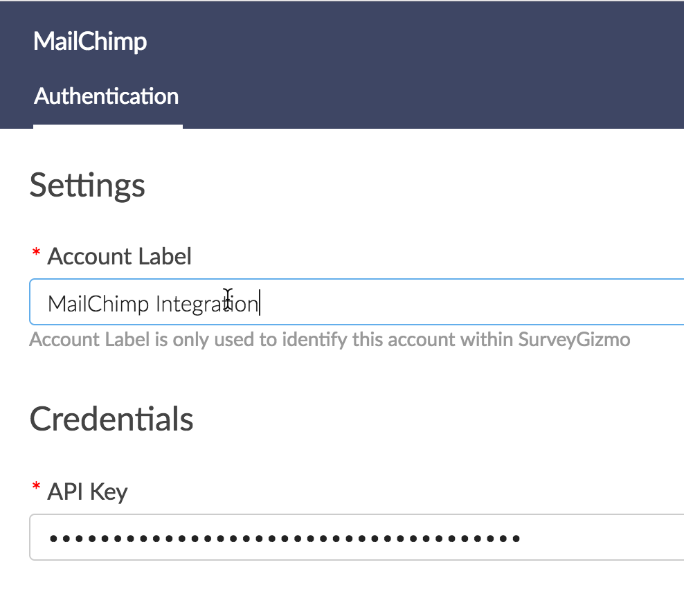 Add MailChimp Account Label and API Key