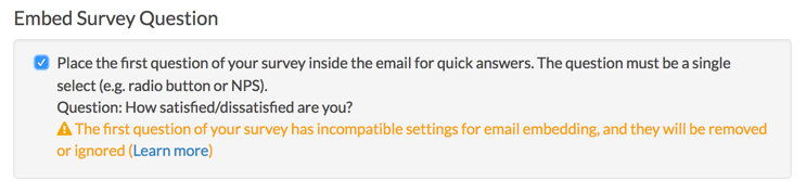 Embed Survey Question: Incompatible Settings