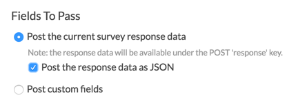Webhook Fields to Pass: Post Response Data as JSON