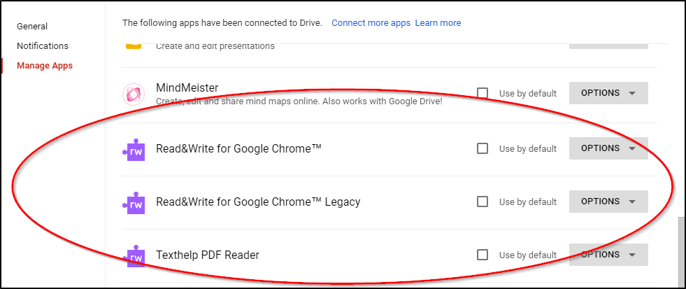 Google Drive Use by default