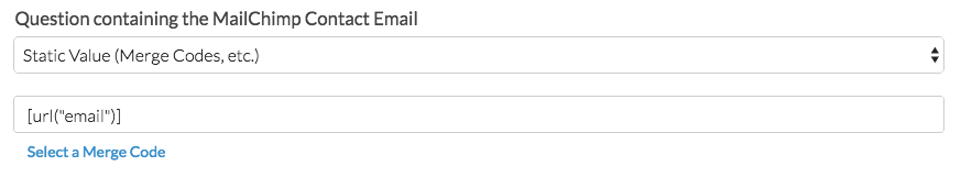 Question containing the MailChimp Contact Email