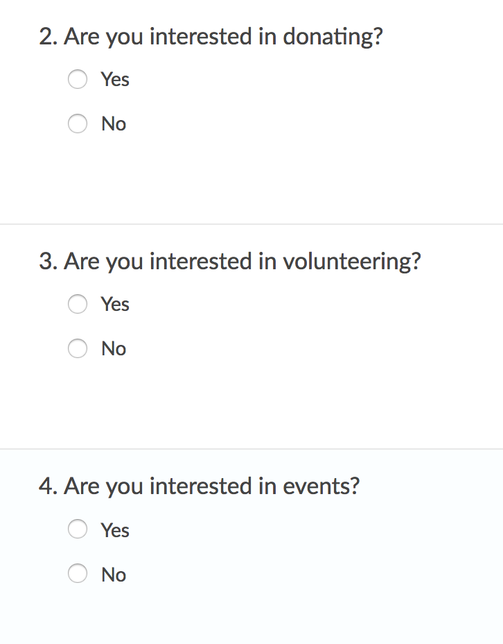 Push Data from Separate Radio Button Questions to Interests