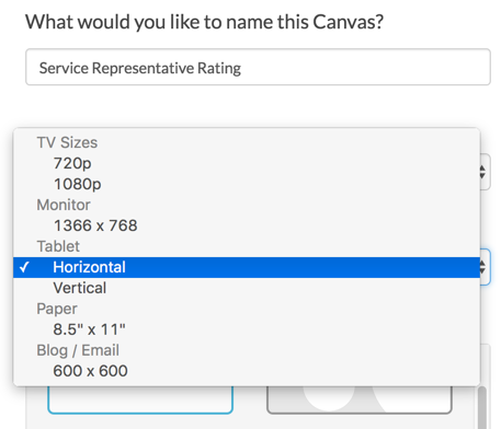 Select Canvas Size