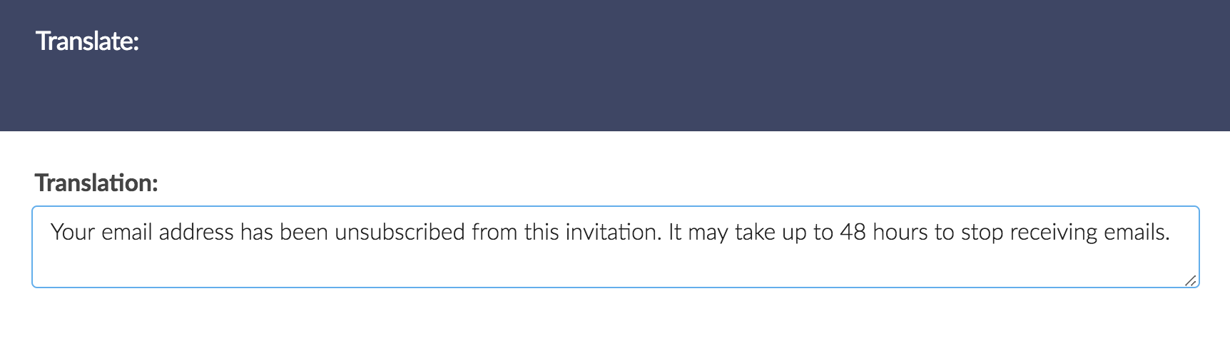 Translate Unsubscribe Confirmation Message