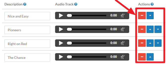 Screenshot of the Music on Hold screen with the ordering buttons highlighted.