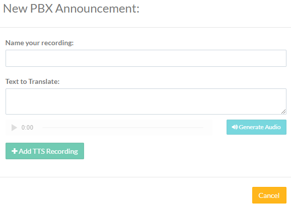 Screenshot of the New PBX Announcement - Text to Speech pop-up box.