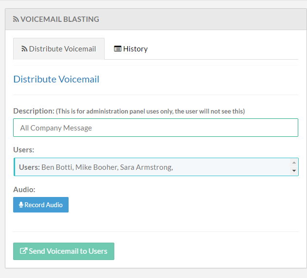 Screenshot of the Voicemail Blasting menu.