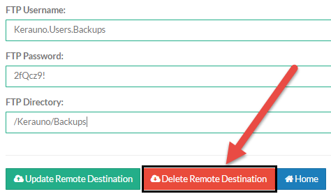 Screenshot of Remote Destination Configuration screen with Delete Remote Destination button indicated.