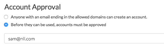 Sub Account Settings: Account Approval