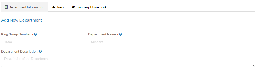 Screenshot of the Department Information tab on the Add New Departments screen.