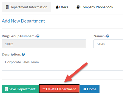 Screenshot showing the Delete Department button on the Department Information tab.