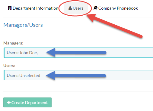 Screenshot of the Users tab on the Department Management screen.