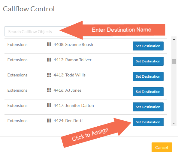 Screenshot of the Callflow Control pop-up.