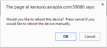 Screenshot of the Reboot Device Pop-up.