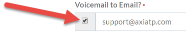 Click the Voicemail to Email? checkbox to enable it.