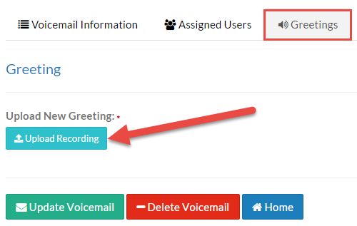 Screenshot of the Greeting tab with the Upload Recording button illustrated.
