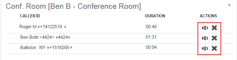 Screenshot of the Conference Room Widget.