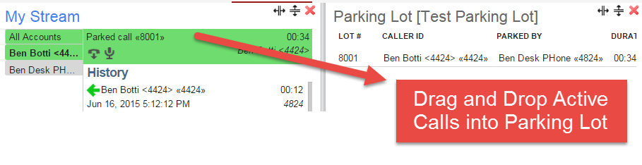 Screenshot of the Parking Lot Widget illustrating drag and drop mehtodology.