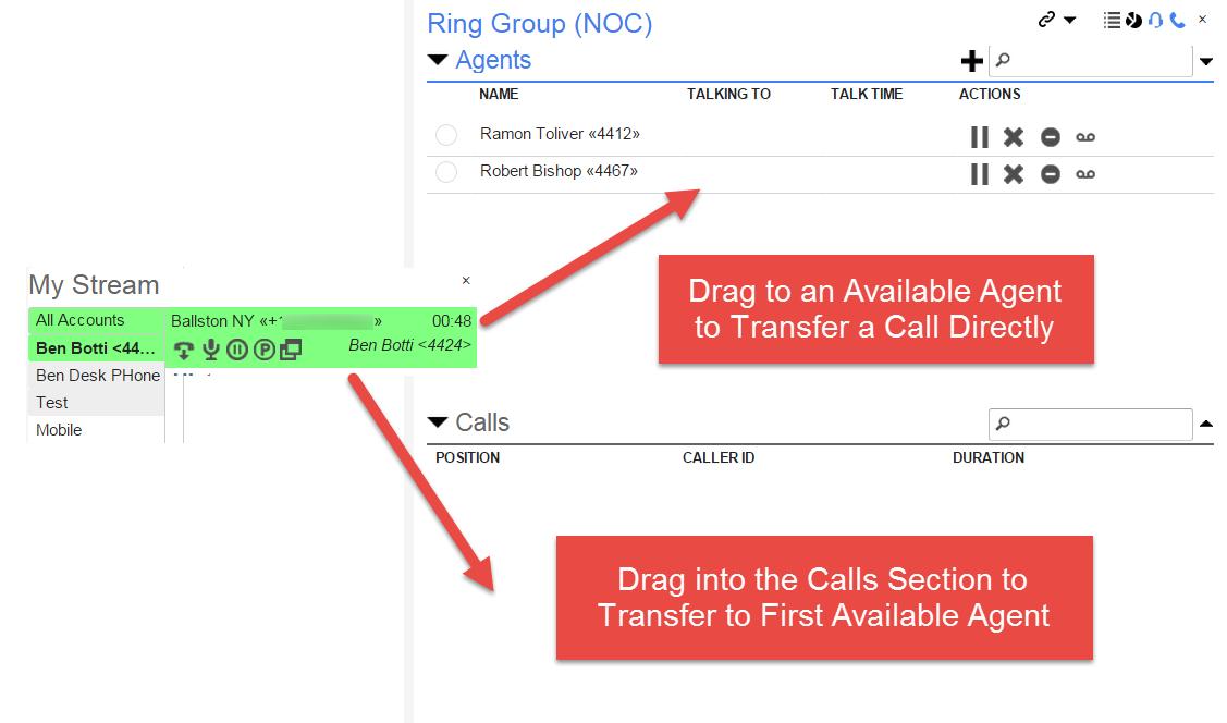 Screenshot of the Calls Section drag and drop functionality.