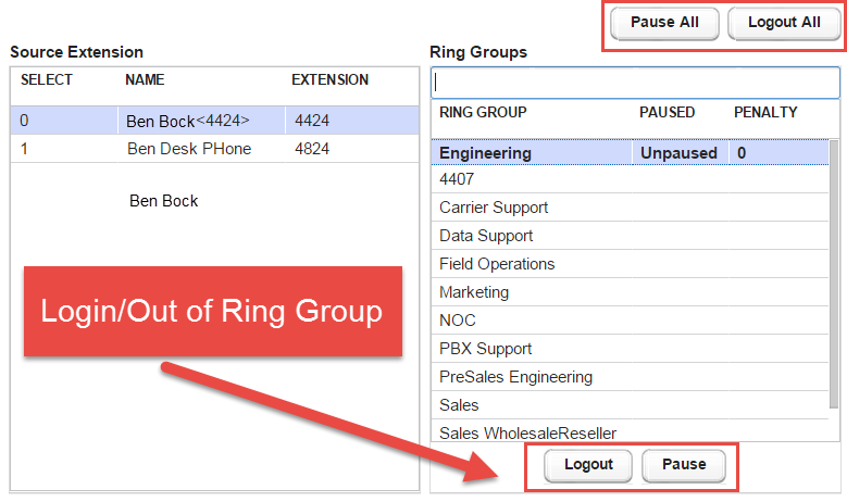 Screenshot of ring groups currently configured in Kerauno.