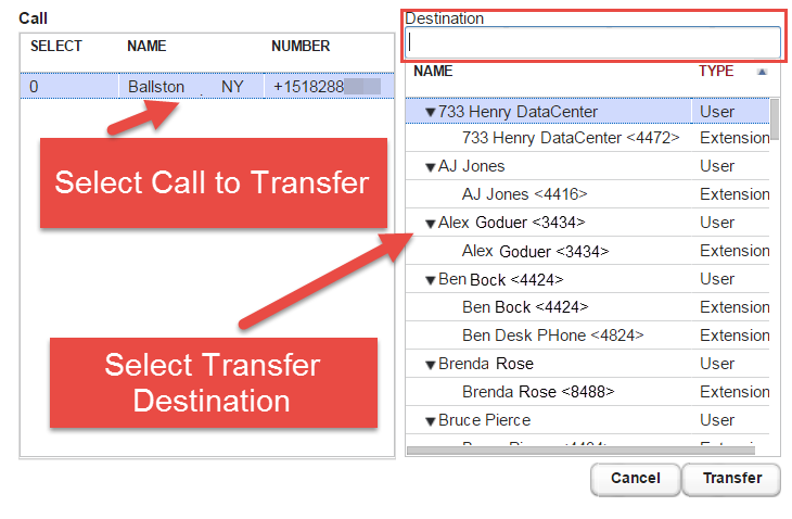 Screenshot illustrating the use of the Transfer button.