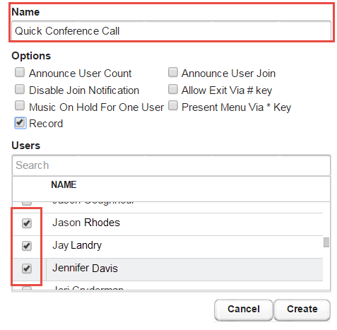 Screenshot illustrating the use of the Conference button.