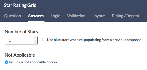 Star Rating Answers Tab