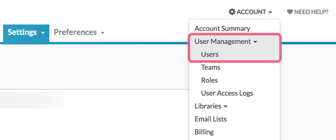 Account Admin: Access User Settings