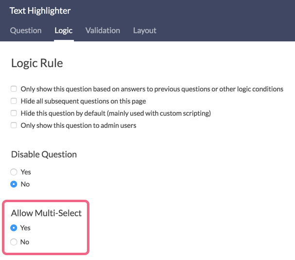 Allow Multi-Select Setting