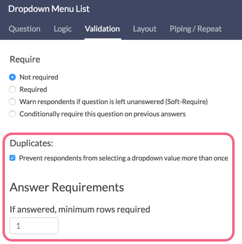 Dropdown Menu List Validation