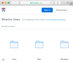 Dropbox folders with links to Forticlient download for Linux, Mac, and Windows operating systems.