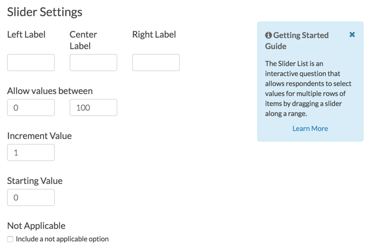 Slider List Settings