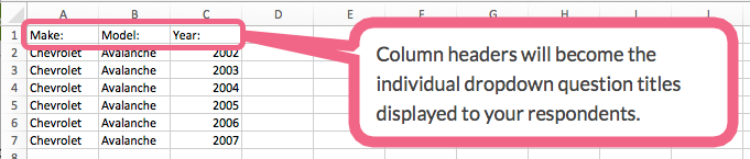 Cascading Dropdown File: Column Headers