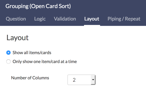Closed Card Sort Layout Options