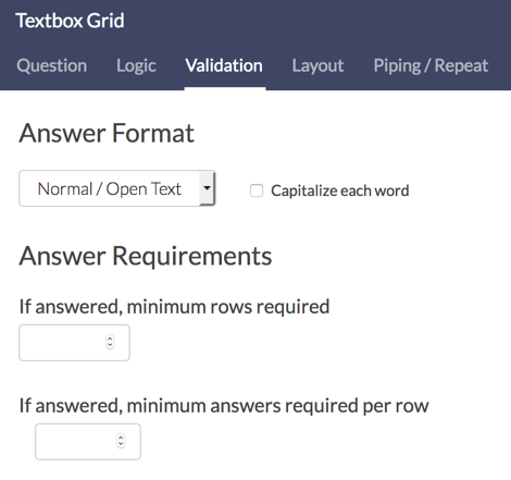 Textbox Grid Validation Options