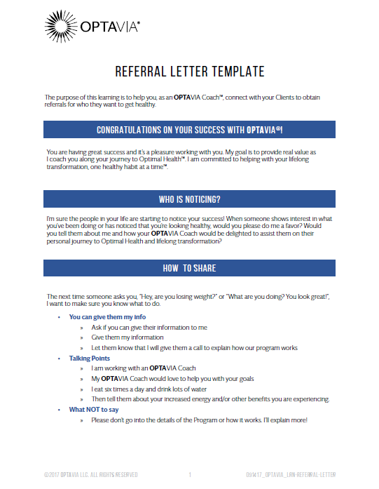 Referral letter template optavia coach answers description maxwellsz