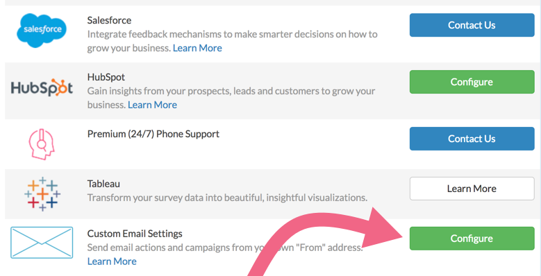 Custom Email Settings: Add Custom Email