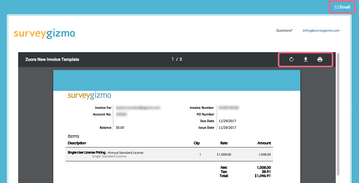 Get A Billing Invoice Or Receipt SurveyGizmo Help - How to invoice someone