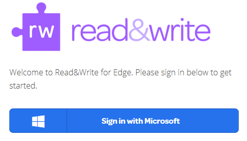 Read&Write for Edge sign in screen
