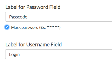 Labels For Password and Username Fields