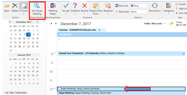 Outlook Calendar and Join Skype Meeting