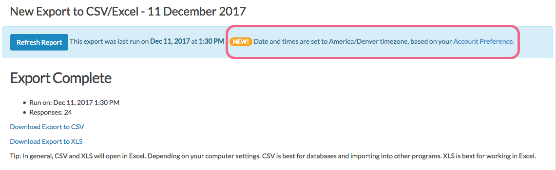 CSV/Excel Export: Date and Time Information