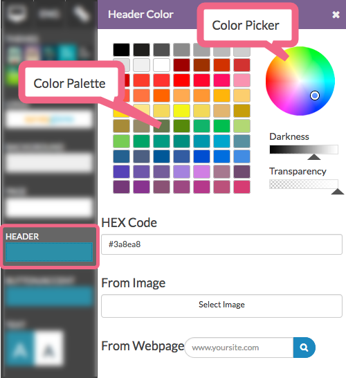 Adjust Color Via Color Palette or Color Picker